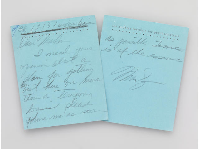 A Marilyn Monroe handwritten note to Marlon Brando and his return telegram to her
