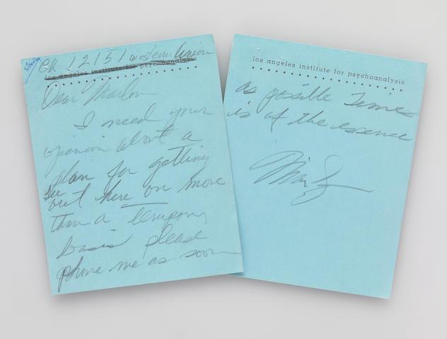 A Marilyn Monroe handwritten note to Marlon Brando and his return telegram to her