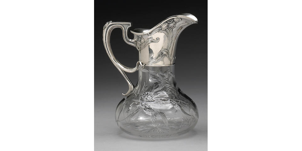 Intaglio Cut Glass Water Pitcher with Sterling Mounts by Gorham