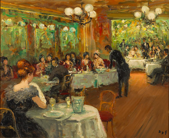 Marcel Dyf  (French 1899-1985) Claudine at Maxim's in Paris, c. 1968 23 3/4 x 28 3/4in (60.3 x 73cm)