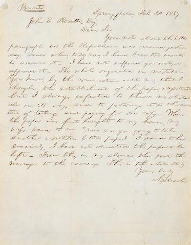 LINCOLN, ABRAHAM. 1809-1865.