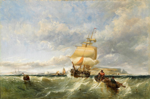 Edwin Hayes (British 1820-1904) A coastal scene with shipping and figures in a dinghy hauling in nets 20 x 30in (50.8 x 76.3cm)