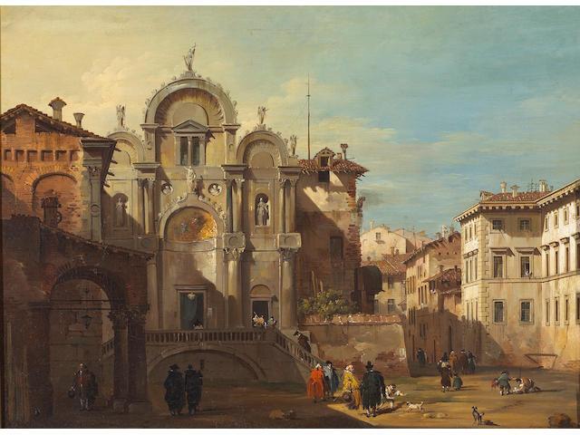Giovanni Migliara (Italian 1785-1837) A Venetian capriccio with reminiscences of the Scuola di San Marco 17 1/2 x 23 1/4in (44.4 x 59cm)