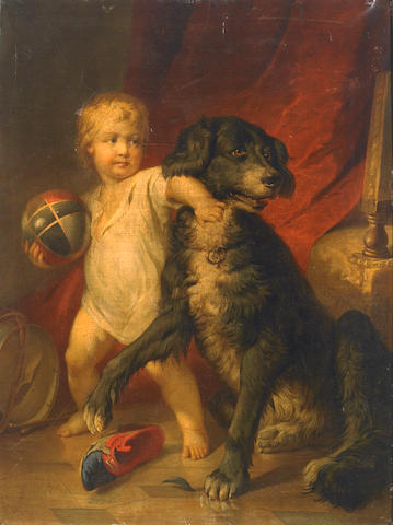 Attributed to George Henry Harlow (British 1787-1819) An interior with a young boy playing with his pet dog 36 x 27 3/4in (92 x 70.5cm)