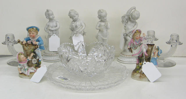 An assembled group of glass tableware and decorative porcelain