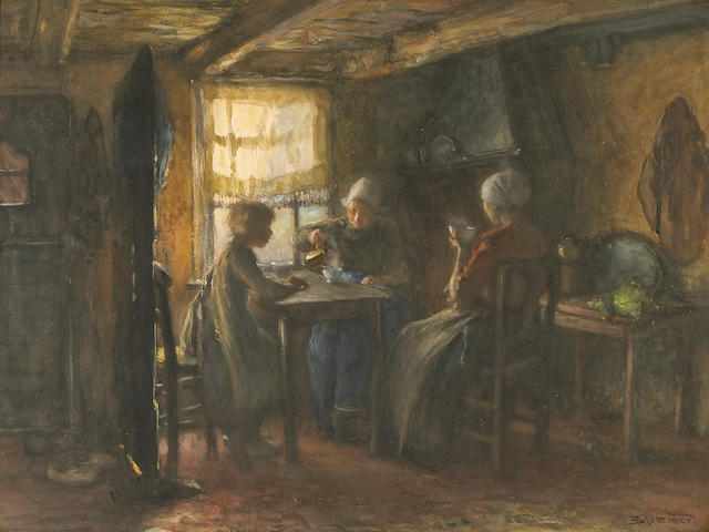 Bernardus Johannes Blommers (Dutch 1845-1914) A cottage interior with figures around a table 21 1/2