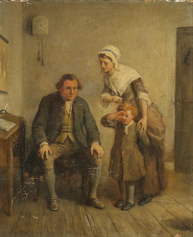 Thomas Webster (British 1800-1886) The naughty pupil 12 1/4 x 10 1/4in (31.1 x 26cm)