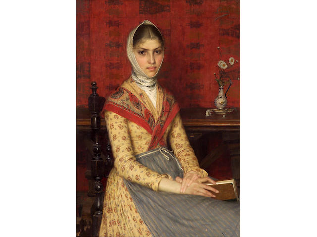 Filadelfo Simi (Italian 1849-1923) A portrait of a young woman holding a book, 40 1/2 x 28in (102.9 x 71.2cm)