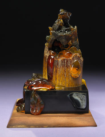 Carved Amber Frog in Forest Scene