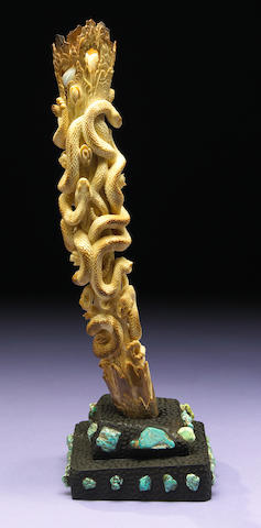 Fossil Walrus Ivory Tusk Carving in Jet Base