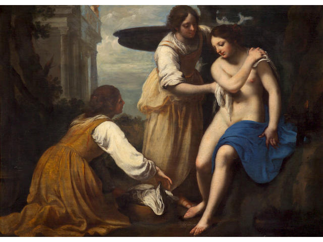 Attributed to Felice Ficherelli (Italian 1605-ca.1669) Bathsheba at her bath with two attendants 45 x 61 1/2in (114.3 x 153.7cm)