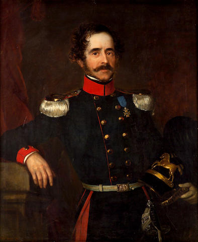 James Butler Brenan (Irish 1825-1889) A portrait of a Hanoverian officer, three-quarter length, holding his helmet 45 1/2 x 37 1/2in (115.6 x 95.3cm)