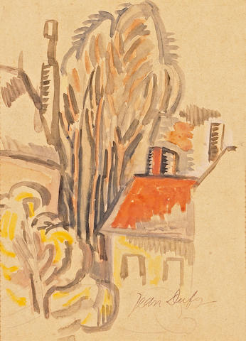 Jean Dufy  (French 1888-1964) Les arbes du village 9 3/4 x 7 1/2in (24 x 19cm)