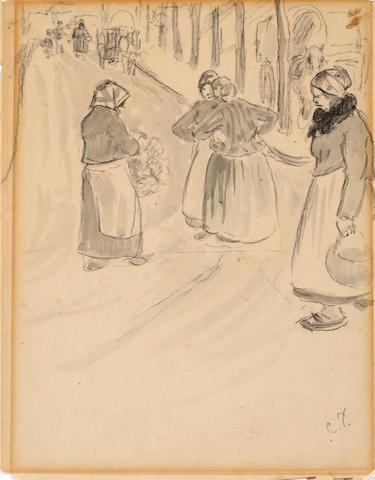 Camille Pissarro (French 1830-1903) Dans la ville, Éragny-sur-Epte 9 x 7in (22.8 x 17.8cm)