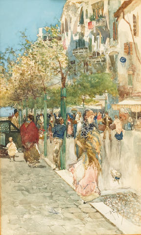 Italian School (late 19th century) A busy street scene 13 x 8in (33 x 20.3cm)