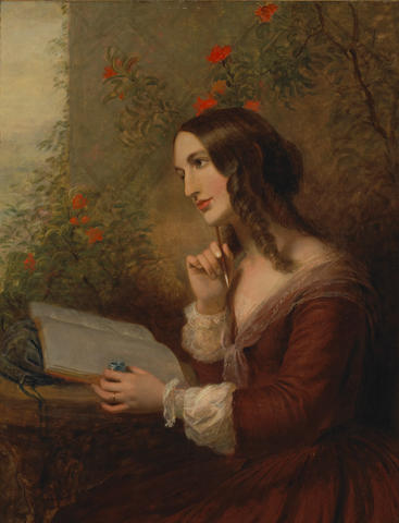 Joseph Severn (British 1793-1872) A lady painting in her album 36 1/4 x 28 1/4in (92 x 71.7cm)
