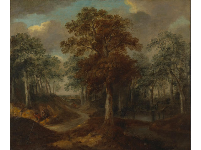 Follower of Salomon van Ruysdael A wooded landscape with figures quarrying by the roadside with a village beyond 25 x 30in (63.5 x 76cm)
