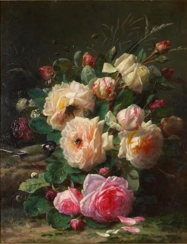 Jean-Baptiste Robie (Belgian 1821-1910) A still life with roses, a titmouse and a bumblebee 20 1/2 x 16 1/4in (52 x 41.5cm)