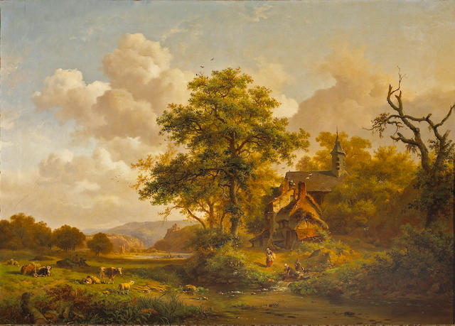 Frederik Marinus Kruseman (Dutch 1816-1882) A tranquil landscape with women washing by a stream and cattle and sheep resting 31 x 43 1/2in (78.8 x 110.5cm)