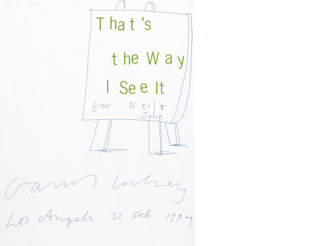 David Hockney, That's the Way I See It, ink on paper, includes book