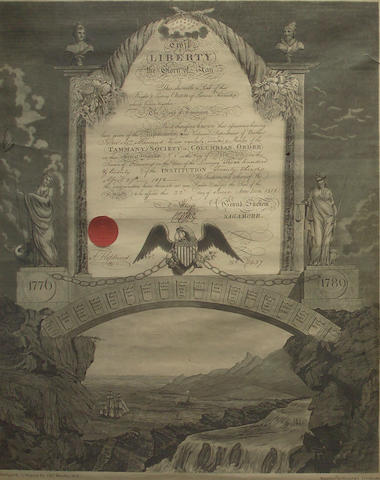 A Tammany Society induction certificate