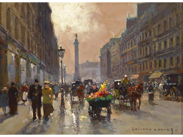 Edouard Léon Cortès (French 1882-1969) A view of Rue de la Paix, Place Vendôme 13 x 18in (33 x 45.7cm)