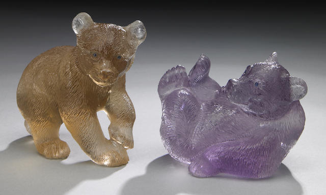 Pair of bear carvings, citrine bear and amethyst bear
