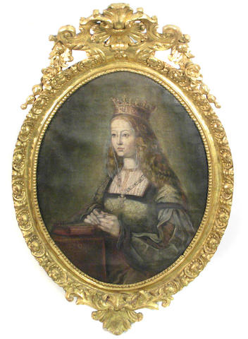 Spanish Colonial School (19th century) A portrait of a lady in regal dress 36 x 27in (oval)