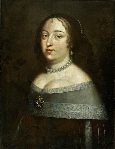 Follower of Charles Beaubrun A portrait of a lady, half-length, with a pearl necklace 26 x 20in (66 x 50.8cm)