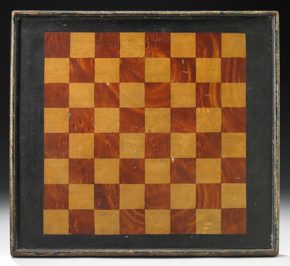 A fine American polychrome wood Parcheesi game board