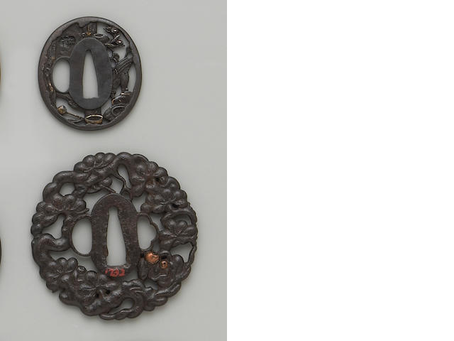Three inlaid tsuba Edo Period