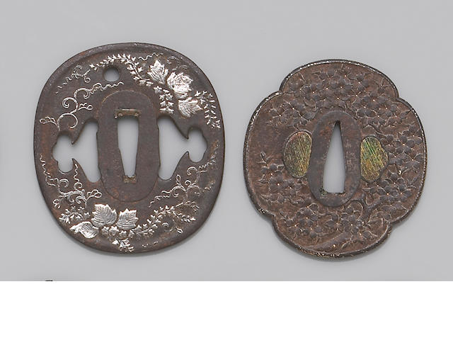 Three inlaid iron tsuba Edo Period, Late 18th/Early 19th Century