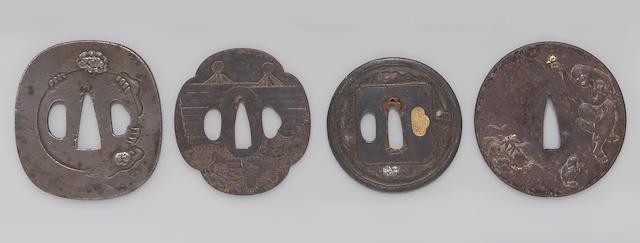 Four iron tsuba Edo Period