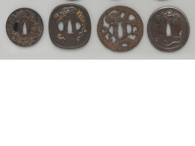 Five dragon decorated iron tsuba Edo Period