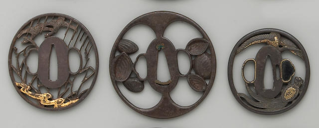 Five iron sukashi tsuba Edo Period