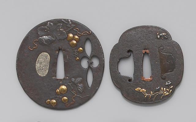 Four mixed metal inlay decorated iron tsuba Edo Period