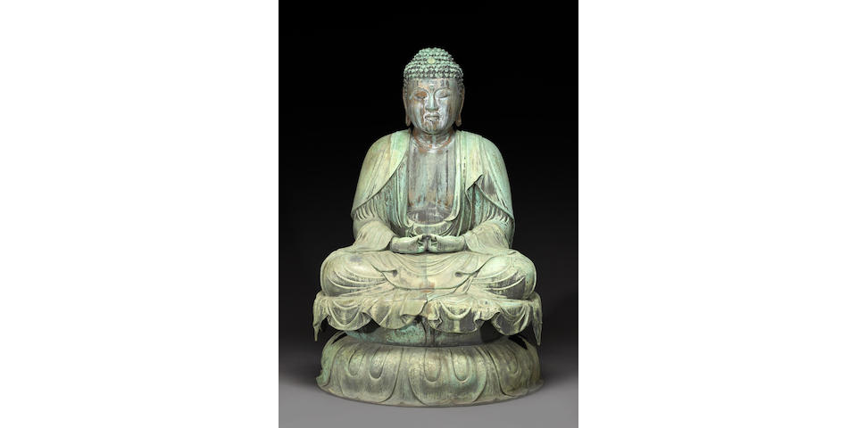 A rare and important bronze temple figure of Amitabha Buddha Edo Period, Dated 1680