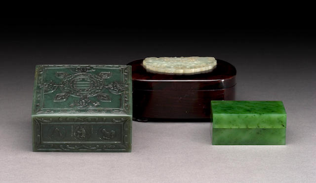 A fine 'spinach' jade box Late Qing Dynasty