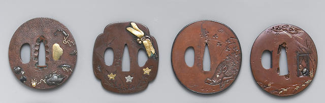 Four inlay decorated soft metal tsuba Edo Period