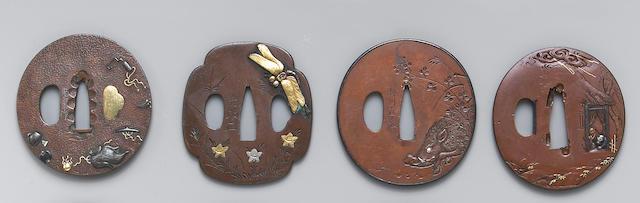 Four inlay decorated soft metal tsuba Edo Period