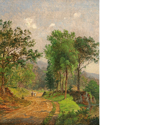 Jasper Francis Cropsey (1823-1900) Path in a Landscape 14 x 12in