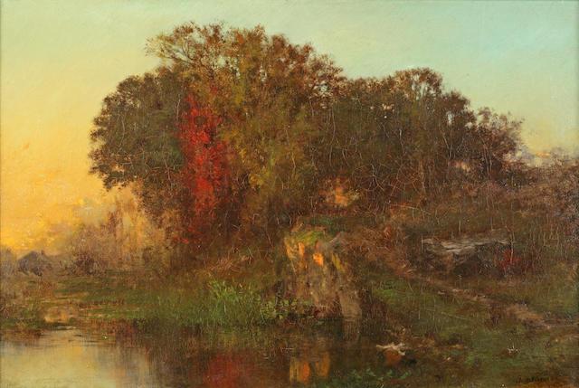 Joseph Morviller (1800-1870) Beside a Pond 12 x 18in