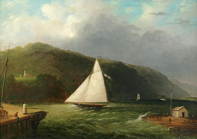 Edmund C. Coates (1816-1871) Lighthouse on the Hudson Near Caldwell Landing 24 x 34in