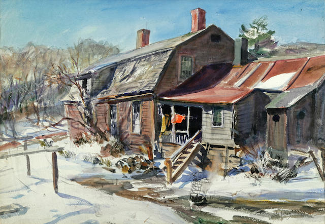 John Whorf (1903-1959) Winter View of a Farm House 15 1/2 x 21 1/2in