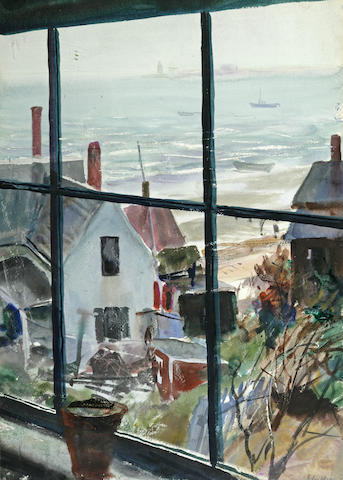 John Whorf (1903-1959) View Out the Window into the Harbor 21 1/2 x 15 1/2in