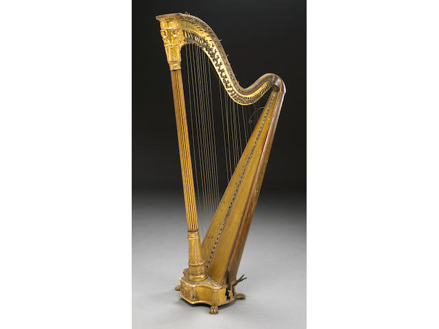A French rosewood parcel gilt and gesso decorated harp by Erard