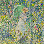 Frederick Carl Frieseke (1874-1939) Rose Garden, Giverny  32 x 32in
