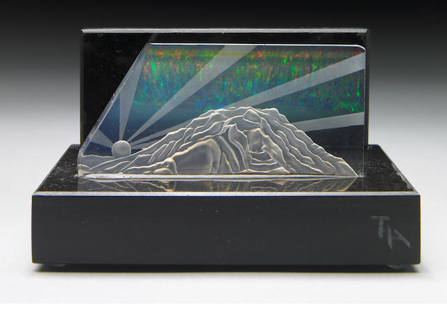 "Exceptional Contra Luz Opal Carving—""Aurora Borealis over Mt. Rainier"""