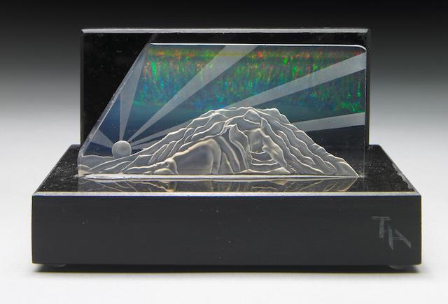 "Exceptional Contra Luz Opal Carving—""Aurora Borealis over Mt. Rainier"""