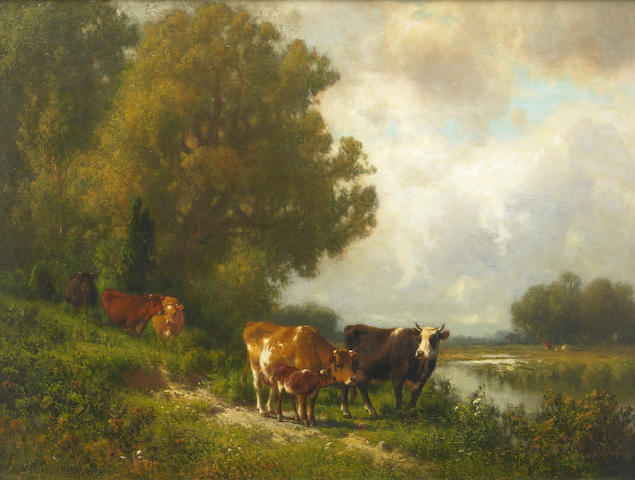 William M. Hart (1823-1894) Family of Cattle by a Brook 19 x 25in